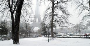 χιόνι της Γαλλίας Παρίσι κά&t Στοκ Φωτογραφία