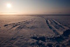 χιόνι τοπίων ομίχλης παραμυθιού Στοκ Εικόνα