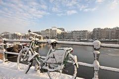 χιόνι του Άμστερνταμ Κάτω Χώ&rho Στοκ Φωτογραφία