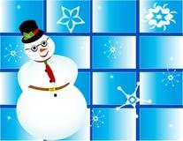Χιόνι χιονανθρώπων δώρων πλαισίων καρτών Χριστουγέννων Στοκ Φωτογραφίες