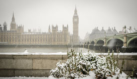 Χιόνι Big Ben Στοκ Εικόνες