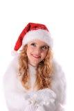 χιόνι santa κοριτσιών Χριστου&gam Στοκ φωτογραφία με δικαίωμα ελεύθερης χρήσης