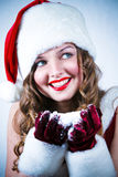 χιόνι santa δεσποινίδας Στοκ Εικόνες