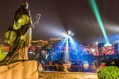 """ΧΙ """", Κίνα - 13 Φεβρουαρίου 2019 Το πλήθος στο φυσικό σημείο για γιορτάζει το κινεζικό φεστιβάλ άνοιξη στοκ εικόνα"""