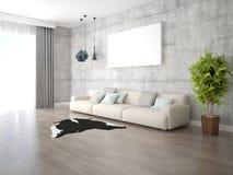 Χλεύη επάνω ένα ευρύχωρο καθιστικό με έναν ελαφρύ άνετο καναπέ στοκ φωτογραφία με δικαίωμα ελεύθερης χρήσης
