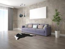 Χλεύη επάνω ένα ευρύχωρο καθιστικό με έναν καθιερώνοντα τη μόδα καναπέ στοκ φωτογραφίες με δικαίωμα ελεύθερης χρήσης