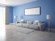 Χλεύη επάνω ένα ευρύχωρο καθιστικό με έναν μεγάλο άνετο καναπέ στοκ εικόνες