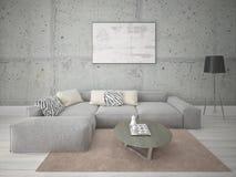 Χλεύη επάνω ένα ευρύχωρο καθιστικό με έναν μεγάλο καναπέ γωνιών στοκ φωτογραφίες