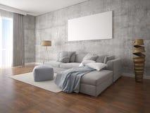 Χλεύη επάνω ένα ευρύχωρο καθιστικό με έναν μοντέρνο καναπέ γωνιών στοκ εικόνα με δικαίωμα ελεύθερης χρήσης