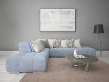 Χλεύη επάνω ένα μοντέρνο καθιστικό με έναν άνετο καναπέ γωνιών στοκ φωτογραφίες με δικαίωμα ελεύθερης χρήσης