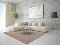 Χλεύη επάνω ένα μοντέρνο καθιστικό με έναν ελαφρύ καναπέ γωνιών Στοκ φωτογραφία με δικαίωμα ελεύθερης χρήσης