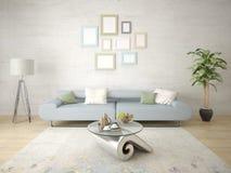 Χλεύη επάνω ένα μοντέρνο καθιστικό με έναν καθιερώνοντα τη μόδα συμπαγή καναπέ Στοκ Εικόνες