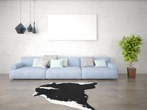 Χλεύη επάνω ένα μοντέρνο καθιστικό με έναν μεγάλο καθιερώνοντα τη μόδα καναπέ στοκ εικόνα