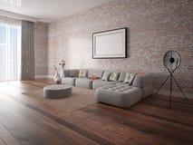 Χλεύη επάνω ένα τέλειο καθιστικό με έναν καθιερώνοντα τη μόδα καναπέ γωνιών στοκ φωτογραφία με δικαίωμα ελεύθερης χρήσης