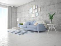 Χλεύη επάνω σε ένα μοντέρνο καθιστικό με έναν τέλειο καναπέ στοκ φωτογραφία με δικαίωμα ελεύθερης χρήσης