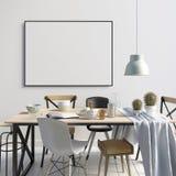 Χλεύη επάνω στην αφίσα στο εσωτερικό με να δειπνήσει την περιοχή σύγχρονο δωμάτιο διαβίωσ& διανυσματική απεικόνιση