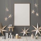 Χλεύη επάνω στην αφίσα στο εσωτερικό Χριστουγέννων στο Σκανδιναβικό ύφος τρισδιάστατη απόδοση διανυσματική απεικόνιση