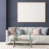 Χλεύη επάνω στην αφίσα στο εσωτερικό στο ύφος μιας καθυστέρησης με μια καρέκλα Σκανδιναβικό ύφος τρισδιάστατη απόδοση απεικόνιση αποθεμάτων