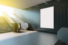 Χλεύη επάνω στην επίδειξη αγγελιών προτύπων μέσων αφισών στην κυλιόμενη σκάλα σταθμών μετρό τρισδιάστατη απόδοση στοκ φωτογραφίες