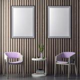 Χλεύη επάνω στο πλαίσιο αφισών στο εσωτερικό υπόβαθρο hipster στα ρόδινα χρώματα και τις ξύλινες σανίδες τοίχων, τρισδιάστατη απε στοκ εικόνα