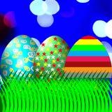 χλόη αυγών Πάσχας ανασκόπησης bokeh Στοκ Εικόνες