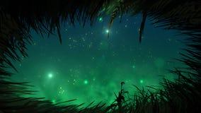 Χλόη τη νύχτα με το βρόχο fireflies απόθεμα βίντεο