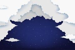 Χνουδωτά σύννεφα εγγράφου και λάμποντας αστέρια στα μεσάνυχτα διανυσματική απεικόνιση