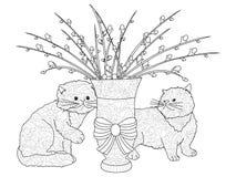 Χνουδωτές ανθοδέσμες ιτιών γατών, δύο γατάκια Μια ρύθμιση στο βάζο  διανυσματική απεικόνιση