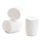 Χνουδωτή άσπρη marshmallow μακροεντολή πέρα από το άσπρο υπόβαθρο Χ Στοκ Εικόνες