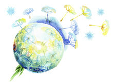 Χνουδωτοί διασκορπίζοντας σπόροι πικραλίδων διανυσματική απεικόνιση
