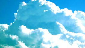 Χνουδωτός σωρείτης σύννεφων με το χρονικό σφάλμα μπλε ουρανού απόθεμα βίντεο