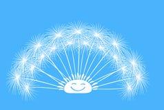 Χνουδωτό διάνυσμα διασκέδασης πικραλίδων σε ένα μπλε υπόβαθρο Στοκ φωτογραφίες με δικαίωμα ελεύθερης χρήσης