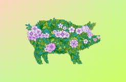 Χοίρος λουλουδιών Διακόσμηση λουλουδιών πρόσθετες διακοπές μορφής καρτών απεικόνιση αποθεμάτων