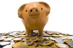 χοίρος νομισμάτων τραπεζώ&nu Στοκ Φωτογραφία
