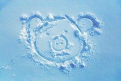 Χοίρος στο χιόνι, που σύρει στο χιόνι fractal ανασκόπησης μπλε φως εικόνας Στοκ φωτογραφία με δικαίωμα ελεύθερης χρήσης