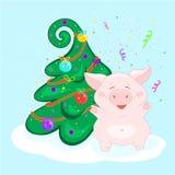 Χοίρος στο χριστουγεννιάτικο δέντρο Ο αστείος χαρακτήρας είναι ευτυχής και φυσά - επάνω firecracker εορταστικός χαιρετισμό&sig κα διανυσματική απεικόνιση