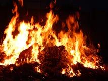 Χοβόλεις που καίνε στην κινηματογράφηση σε πρώτο πλάνο πυρκαγιάς τη νύχτα Στοκ εικόνες με δικαίωμα ελεύθερης χρήσης