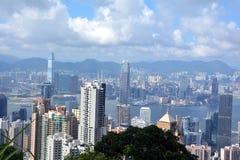 Χογκ Κογκ Εικόνα της άποψης οριζόντων Χονγκ Κονγκ από την αιχμή Victora στοκ φωτογραφίες