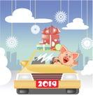 Χοιρίδιο που τρώει στο αυτοκίνητο με τα δώρα από την πόλη απεικόνιση αποθεμάτων
