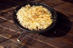 Χοιρινό κρέας κάτω από το τυρί με το μαρούλι παγόβουνων Στοκ Εικόνα