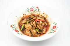 Χοιρινό κρέας που τηγανίζεται με το chilie Στοκ Φωτογραφία