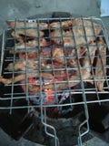 Χοιρινό κρέας που ψήνεται στη σχάρα στην πυρκαγιά ξυλάνθρακα Στοκ Εικόνες
