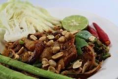 Χοιρινό κρέας σαλάτας για τα ταϊλανδικά τρόφιμα Στοκ Εικόνες