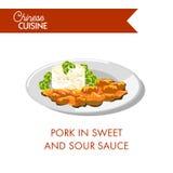 Χοιρινό κρέας στη γλυκόπικρη σάλτσα στο πιάτο που απομονώνεται Στοκ φωτογραφία με δικαίωμα ελεύθερης χρήσης
