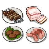 Χοιρινό κρέας kebab, μπέϊκον, λουκάνικα και άλλες λιχουδιές διανυσματική απεικόνιση