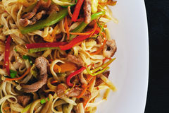 Χοιρινό κρέας wok σε ένα πιάτο Στοκ φωτογραφίες με δικαίωμα ελεύθερης χρήσης