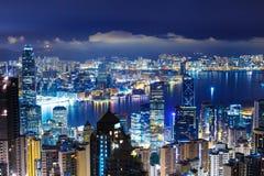 Χονγκ Κονγκ αργά - νύχτα στοκ εικόνα με δικαίωμα ελεύθερης χρήσης