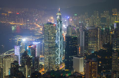Χονγκ Κονγκ κατά την άποψη νύχτας Στοκ Εικόνα