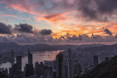 Χονγκ Κονγκ καλημέρας, ανατολή στην αιχμή Βικτώριας Στοκ Φωτογραφία