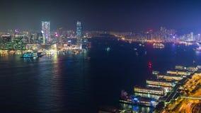 Χονγκ Κονγκ κινούμενα σκάφη λιμένων νύχτας βιομηχανικά timelapse απόθεμα βίντεο
